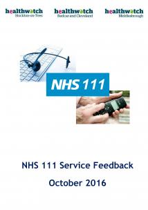 NHS 111 Service Feedback Report front cover