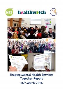 Shaping Mental Health Services Together Report front cover