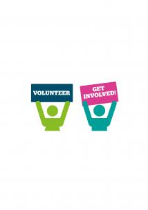 Two people promoting volunteering.